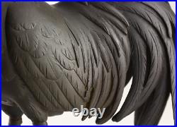 Japanese Antique Pair of Fowl Bronze Sculpture Statue Meiji Period