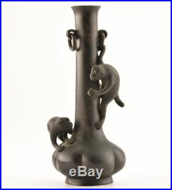 Japanese Antique Playing Monkeys Bronze Vase Meiji Period