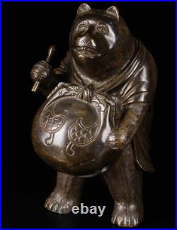 Japanese Antique Raccoon Hanging a Bell Bronze Statue 10 Meiji Period