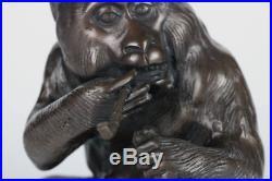 Japanese Antique Small Bronze Statue Figure Smoking Monkey Meiji Period