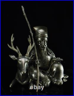Japanese Antique Taoist Deity Jurojin & Deer Bronze Statue Meiji Period