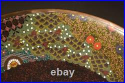 Japanese Antique Very Detailed Large Cloisonne Plate Meiji Period