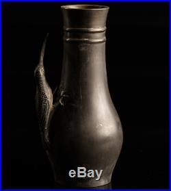 Japanese Antique Wagtail Bronze Vase Meiji Period
