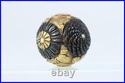 Japanese Antique copper Ojime Chrysanthemum design Meiji period Netsuke