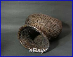 Japanese Bamboo Fishing Basket Biku Meiji Period Late 19th Century Minge