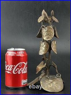Japanese Bronze Art Flower and Leaf Candle Holder Stand Meiji Period