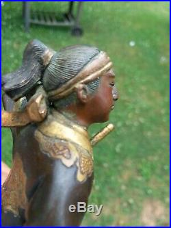 Japanese Bronze Eisuke Miyao Okimono Samurai Meiji Period Warrior Signed