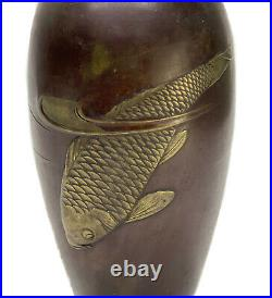 Japanese Bronze Mounted Koi Fish Vase, Meiji Period