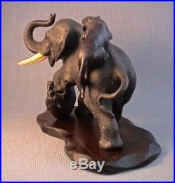 Japanese Bronze Okimono of Elephant and Tigers by Seiya Meiji Period