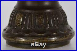 Japanese Bronze Silver Inlay Alter Vase Signed Edo or Meiji Period 19th Century
