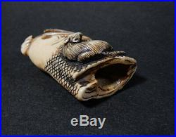 Japanese Carved Netsuke Fish Mouse Edo Meiji Period Bone Y262