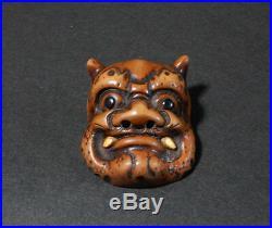 Japanese Carved Netsuke Mask Oni Demon Edo Meiji Period Wood Y157