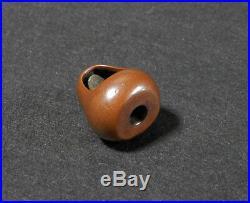 Japanese Carved Netsuke Ojime Daruma Signed Edo Meiji Period Metalwork Y259