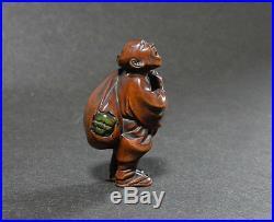 Japanese Carved Netsuke Signed Gyokukei Man Oni Demon Edo Meiji Period Wood Y47