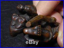 Japanese Carved Netsuke Signed Gyokukou Master Tiger Edo Meiji Period Wood Y61