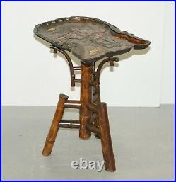 Japanese Collectable Meiji Period 1868-1912 Bamboo Tray Side End Lamp Wine Table