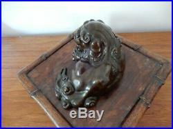 Japanese Early Meiji Period Antique Bronze Shi Shi Dog & Stand, original patina