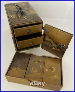 Japanese Gold Lacquer Kodansu Incense Cabinet Box Meiji Period Late 19th Century