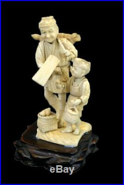 Japanese Hand Carved Okimono Meiji period Man Boy Turnip Seller 19cms 7.48 High