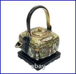 Japanese Inaba Nanaho Cloisonne Enamel Teapot, Meiji Period circa 1890