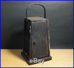 Japanese Iron Kura Andon, Lantern for working in Warehouse Meiji period