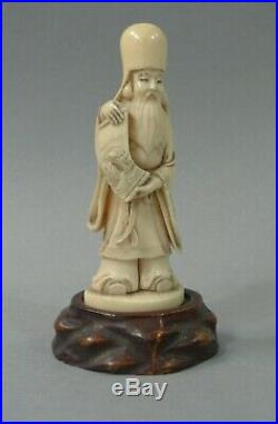 Japanese Ivory Okimono Fukurokuji Scroll Carved Carp Meiji Period