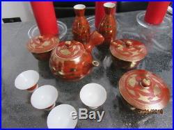 Japanese Kutani egg shell porcelain sake and tea sets Meiji period1868 -1912
