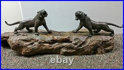 Japanese MEIJI period Bronze Stripped Tigers on original wood base