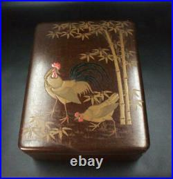 Japanese Makie Bunbako Chicken on bamboo Nashiji Edo Meiji period WBX47