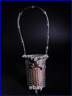 Japanese Meiji Bronze Vase Fabulous Handle Basket with The Frog Style Hana Kago