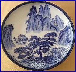 Japanese Meiji Period Blue and White Imari Shallow Bowl or Charger MCI Signed