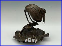 Japanese Meiji Period Bronze Crane Lily Pad Frog Figural Inkwell Stand c 1900