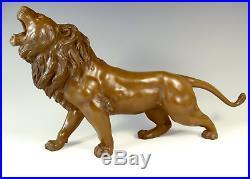 Japanese Meiji Period Bronze Lion Okimono Signed Seiya