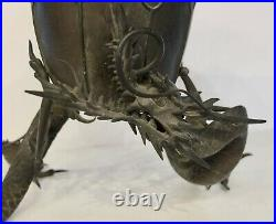 Japanese Meiji Period Bronze Lotus Vase With Dragon Or Serpent Feet 11 1/2 Tall