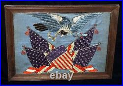 Japanese Meiji Period Framed Embroidery of American Eagle & US Flags (BeG)