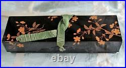 Japanese Meiji Period Gilded Cherry Blossom Decorated Black Lacquer Document Box