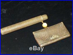 Japanese Meiji Period Leather Tobacco Pouch & Kiseru Zutsu Pipe Case