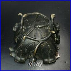 Japanese Meiji Period Lotus Art Nouveau Bronze Ikebana Vessel Bowl SEE PICS