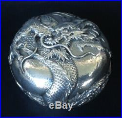Japanese Meiji Period Pure Silver Round Box Dragon Decor Artist Signed Sterling