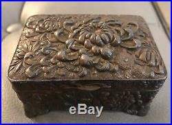 Japanese Meiji Period Repousse Bronzed Trinket Box Chrysanthemum Relief
