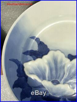 Japanese Meiji Period Signed Hirado Yaki Blue & White Porcelain Flower Plate