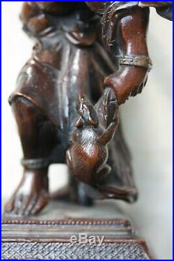 Japanese Meiji Period bronze / spelter figure of a rat catcher, finely cast