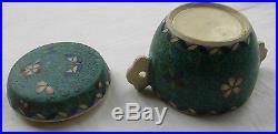 Japanese Meiji period Totai cloisonne porcelain lidded pot with handles