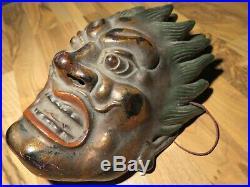 Japanese Meiji period Waste Netsuke Mask Menpo carved Wood lacquer Okimono Goshu