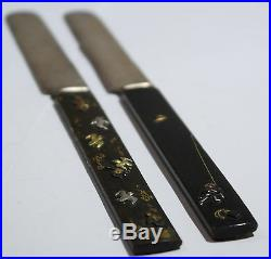Japanese Mixed Metal Pair of Knives Birds Motif Meiji Period Circa 1900