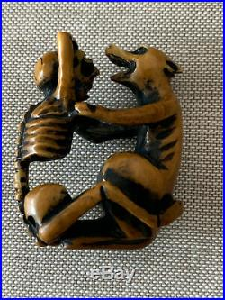 Japanese Netsuke Skeleton and Wolf Meiji Period