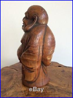 Japanese Old Bamboo Hotei Statue / / W 13.5× H 26.5cm / Meiji Period