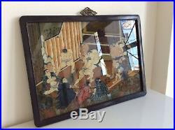Japanese Old Glass Art SUMO / W 59× H 43 cm Late Edo-Meiji Period
