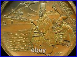Japanese Old High Relief Plate signed / Meiji Period / W 22×H1.5cm, 628g RARE