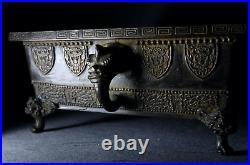 Japanese Old Huge Suiban Bronze Bonsai Pot Marked Shinsai / W 52.5cm 9.5kg